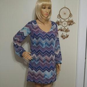 Speechless women's long sleeve chevron shift dress